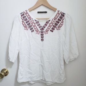 Tops - White embroidered top